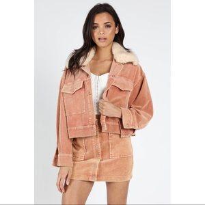 Pink Corduroy Fur Collar Jacket